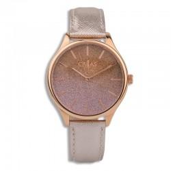 Montre bracelet cuir rose