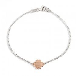 Bracelet fleur martelée rose